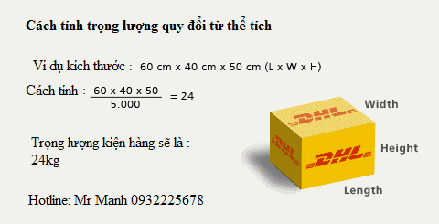 cach tinh the tich quy doi sang trong luong dhl